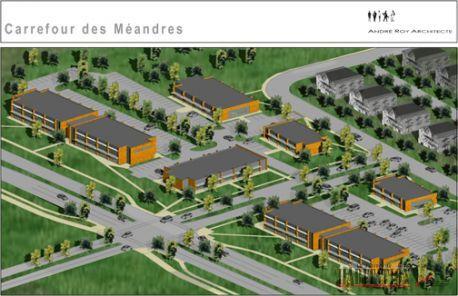Une esquisse du projet Carrefour des M�andres, projet� le long du nouveau boulevard Robert-Bourassa par la firme Les D�veloppements Du Vallon. Source: Le Journal de l'habitation.