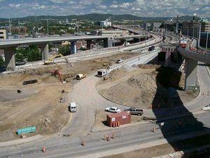Élimination des bretelles de l'autoroute Dufferin, vue d'ensemble en direction NO. Photo: Jean Cazes, 29 juin 2007.