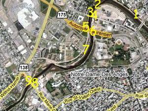 Phase VI, rivière Saint-Charles et environs. Source: Google Map.