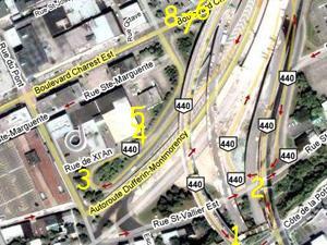 Démantèlement des bretelles de l'autoroute Dufferin. Source: Google Map.